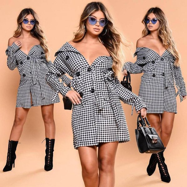 women trench Coats long coat winter Classic black white plaid trench coat Lapel double breasted womens clothes