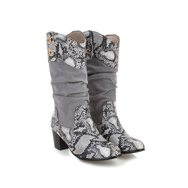 Kadın botları Avrupa ve Amerikan tarzı tasarım yılan desen batı kot yarım çizmeler Kış rahat açık bayan şövalye çizmeler toptan