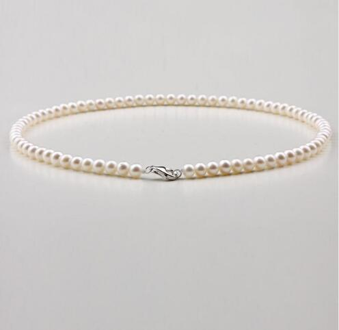charming 5-6 mm natural Japan Akoya white pearl necklace 18inch