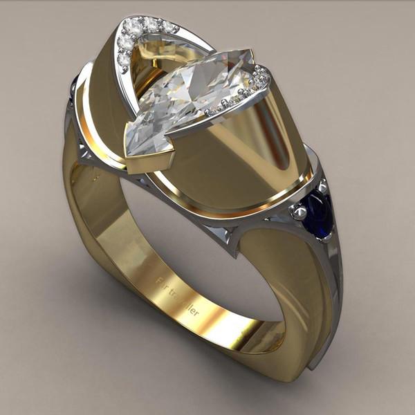 Hainon Moda Única Forma Oval Anel De Cristal Da Cor do Ouro Olho de Cavalo Birthstone Anéis Para As Mulheres CZ Anéis de Noivado Jóias Presentes