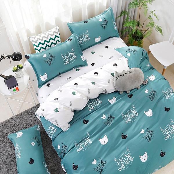 new 2019 Cute Cat Kitty Duvet Cover Pillow Case Bed Sheet Boy Kid Teen Girl Bedding Linens Set King Queen Twin