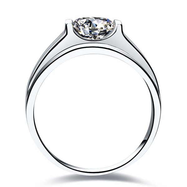 Free Shipping Classic 1.0CT SONA Synthetic Diamond Rings For Men PT950 Stamp 925 Sterling Silver Ring In Platinum Plated Wedding Ring Male