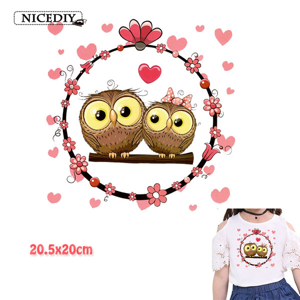 Cute Owl Thermal Transfer Multi Style Sticker Ironing Patch Cartoon Combination Separate Thermal Transfer for Kids Shirt Dress 10 Pieces