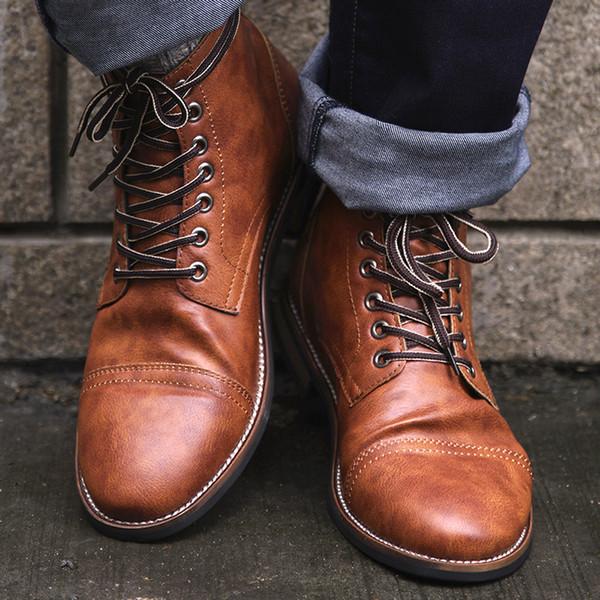 Acheter Haute Qualité Britannique Hommes Bottes Automne Hiver Chaussures Mode Hommes Bottes À Lacets En Cuir PU Homme Mâle Botas 2018 BRM 056 De