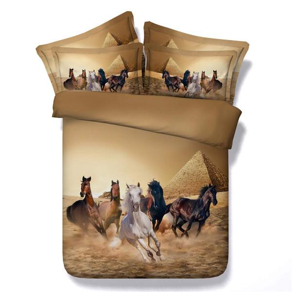 3D funda nórdica conjunto de ejecución Caballos de impresión de 3 piezas de la pirámide del lecho con 2 almohadas Sham colcha cubierta del edredón Brown Tapa de Consolador
