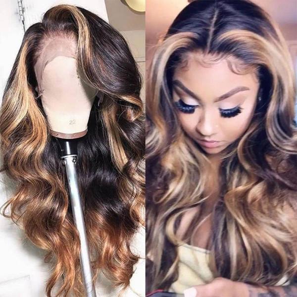 Объемная волна Блондинка Браун 1B / T27 13X4 фронт шнурок глубокой часть человеческих волос парик 130% Плотность Природное Hairline с волосами младенца для женщин