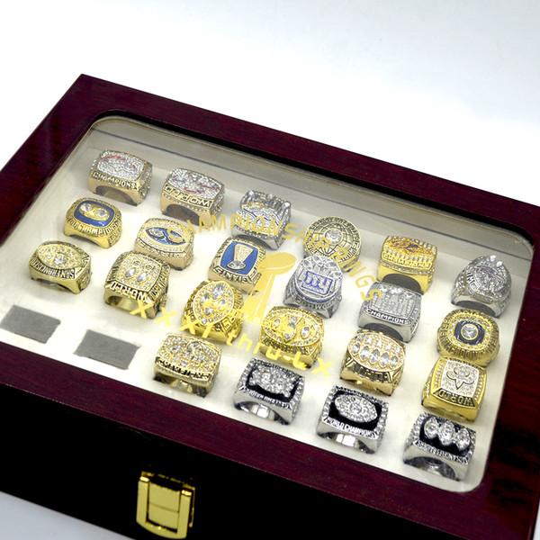 52pcs/set football championship ring with box