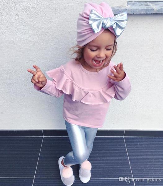 Baby Girls Back to School Outfit T-shirt in pizzo rosa per bambini Pantaloni argento Abito a tre pezzi con fiocco