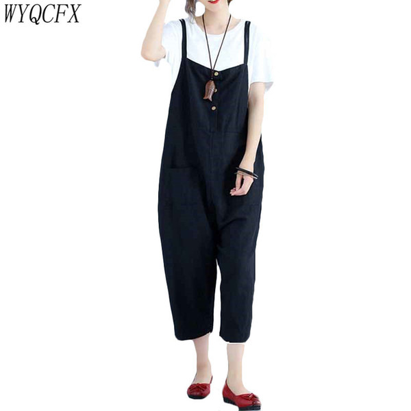 Casual Oversized Women Harem Loose Black Sleeveless Jumpsuits 2019 Vintage spring summer Sling pants female Casual Rompers W122