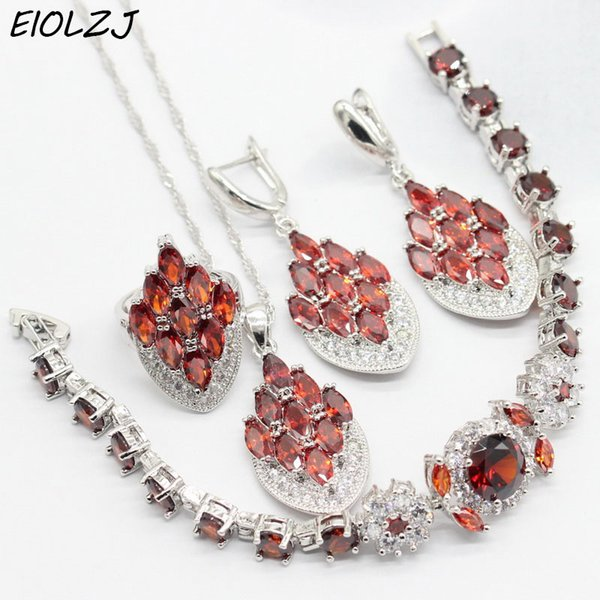 Trendy Women's Silver 925 Engagement Jewelry Set Pomegranate Red CZ Earring Sets for Ladies Bracelet Ring Pendant Necklace Box