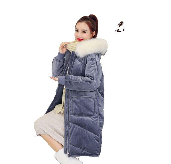 Hors saison d'or velours mi-longueur veste vers le bas les vêtements en coton rembourré FEMMES Robe 2019 style coréen en vrac hiver coton rembourré J