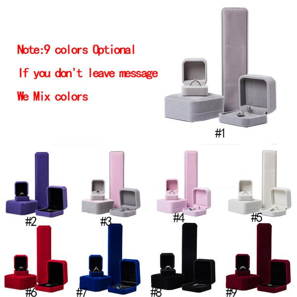 9 couleur carré velours bijoux boîtes-cadeaux pour bagues pendentif colliers bracelet bracelet mariage bijoux de fiançailles vitrine en vrac