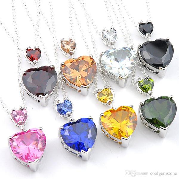 12 Pcs Wholesale Peridot Brazil Citrine Topaz Gemstone 925 Sterling Silver Wedding Pendant Weddings Jewelry fashion Women Jewelry