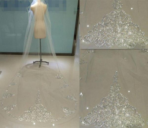 Velo da sposa da sposa in pizzo cattedrale 1t 3m. Paillettes in strass color avorio bianco
