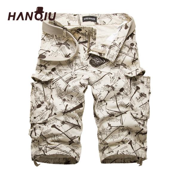 HANQIU Coton Mens Cargo Shorts Mode Camouflage Homme Short Multi-Poche Casual Camo Extérieur Tolling Homme Pantalon Court