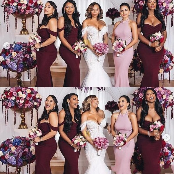 2020 Classic Burgundy Off Shoulder Mermaid Bridesmaid Dresses
