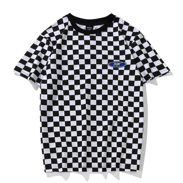 Youthcodes Plaid T Shirt Classico in bianco e nero Reticolo Basic in cotone O collo Patchwork Ricamo a scacchi T-shirt Geek Dark Souls J190618