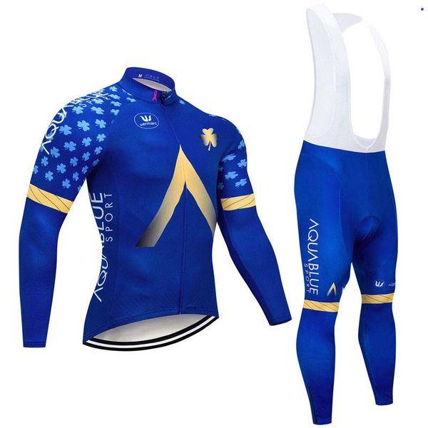 Aqua azul equipe de ciclismo de manga comprida jersey bib calças define mens quick dry ropa ciclismo roupas mtb correndo desgaste u72301