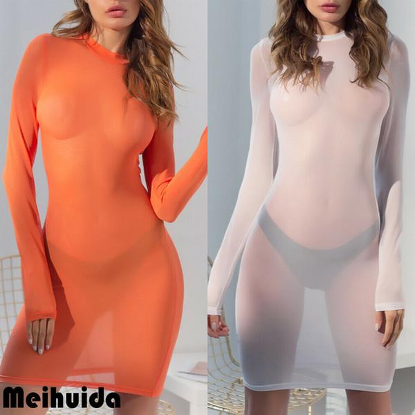 Women Long Sleeve Sheer Mesh Bodycon Mini Sun Dress Lingerie Underwear Club Tops