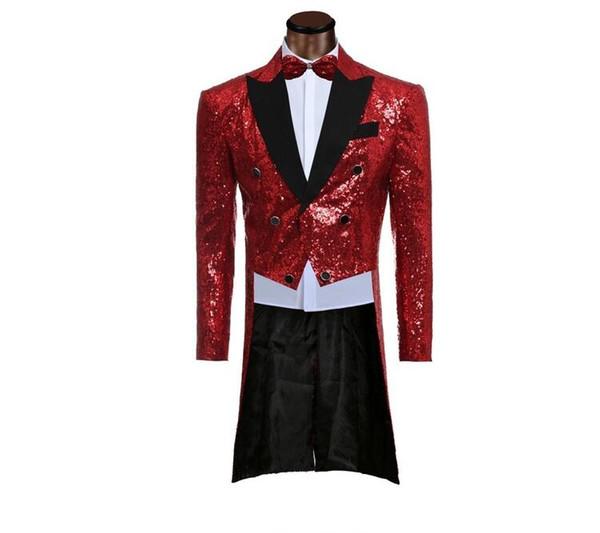 Custom made Men Red Suit Sequin Suits Jacket Pants Formal Dress Mens Suit Set men wedding suits groom tuxedos(jacket+pants) CY08