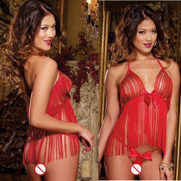 Free Shipping New sexy lingerie cosplay red sling hollow tassels dew emptiness temptation sexy bow underwear pajamas nightdress uniform set