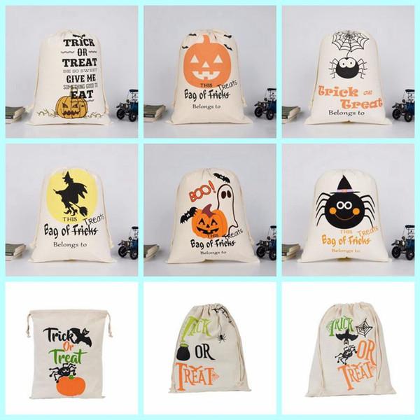 Halloween candy Bag Kürbis Maskerade Partei Baumwolltuch Handtasche Kinder Sack Kordelzug Taschen Schädel Teufel Spinne drucken Aufbewahrungsbeutel LXL314
