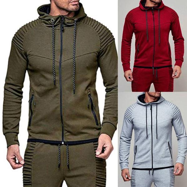 EUA Mens Treino Top Inferior Esporte Jogging Sweat Suit Calça Pant Hoodie Casaco Cultivar a moralidade de lã
