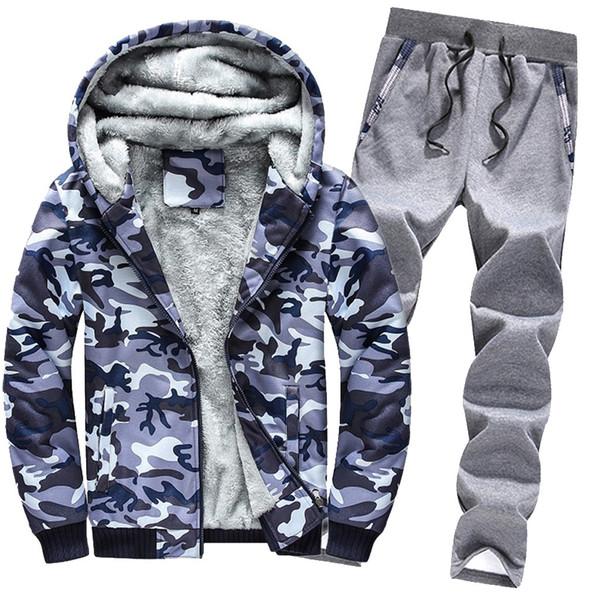 2019 Fashion Tracksuit Sport Men Mens Hoodie Winter Camouflag Warm Fleece Zipper Running Outwear Coat Top Pants Sets Sets