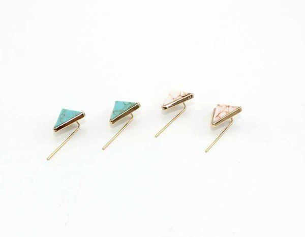Fashion Gold White Green Turquoise Triangle Marble Earrings Natural Stone Charms Dangle Earrings Jewelry For Women