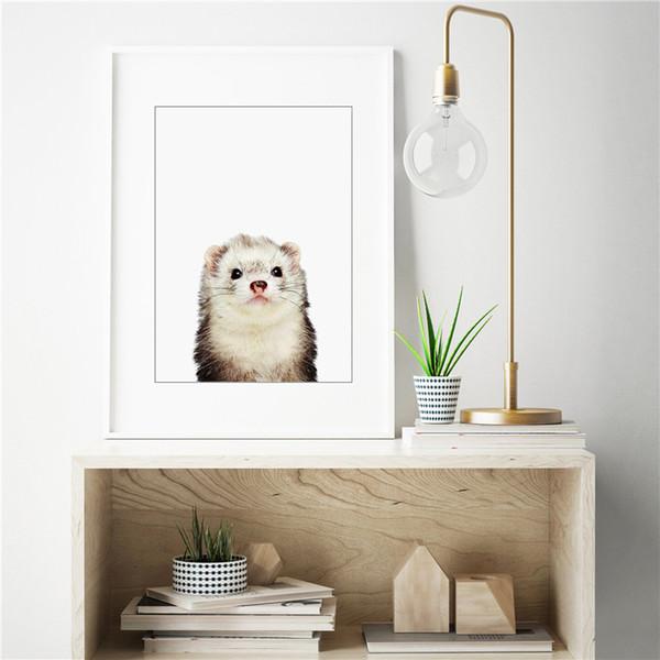 Acheter Le Furet Debout Animal Minimaliste Mur Art Toile Posters Impressions Peinture Mur Photos Pour Chambre Moderne Décor à La Maison Cadre De 8 06