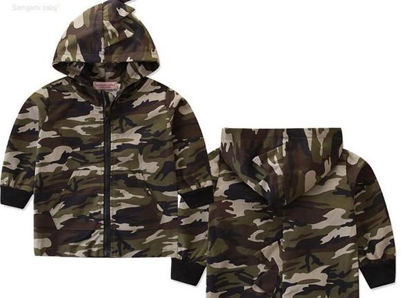 New Boy Kids Clothing Dinosaur Camouflage Zipper Jacket Long Sleeve Ins Spring Fall Kids Good Designer Hoodies Size 80-130cm
