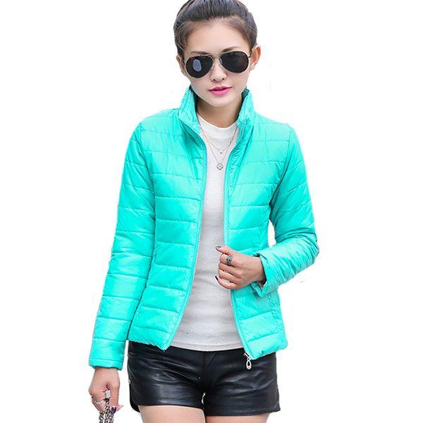 2019 Chaqueta básica de invierno para mujer Abrigo de primavera ultra ligero de color caramelo Ropa de abrigo de algodón corta femenina Jaqueta Feminina S19824