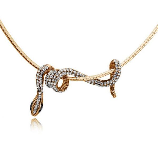 Mujer Europa y América Retro Aleación Cristal Viper Clavícula Cadena Animal Colgante Collar Serpiente Collar