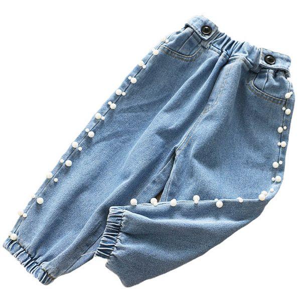 Arbeiten Sie Perlenmädchenjeans-Kindjeans-Kinddesignerkleidungsmädchenhose neuen Herbst 2019 Kinderpluderhosenmädchen beiläufige Hosen A7451 um