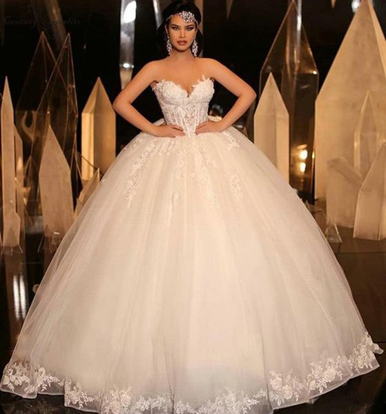 Sweetheart Ball Gown Wedding Dresses 2019 Appliques Beaded Sheer Top Lace Up Back Princess Wedding Bridal Gown Vestido De Noiva