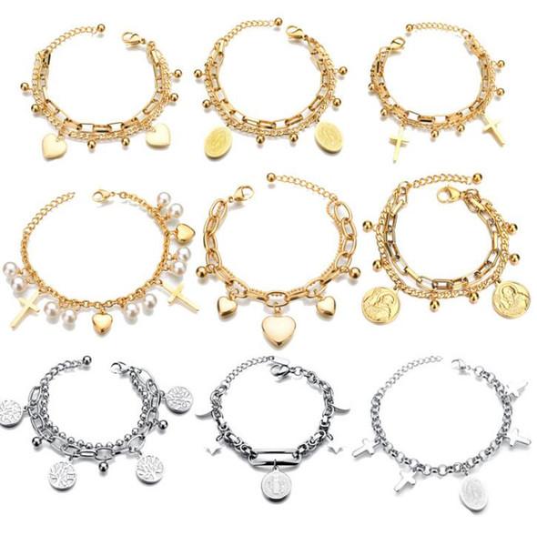 Popular-XSK- Titanium Steel Girls'Bracelet with Double Layer Life Tree Pendant