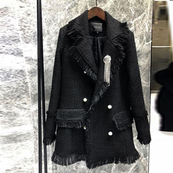 chaqueta bicolor hebilla de perlas lado flecos pequeña fragancia chaquetas de tweed negro de la mujer en el abrigo largo