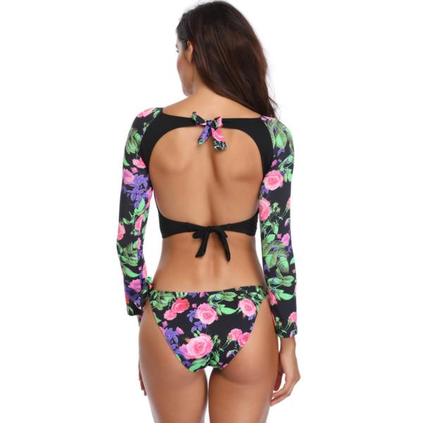 2019 Two Piece Swimsuit Verão Sexy Mulheres Imprimir Manga Comprida Meados Cintura Bikini Set Push Up Swimwear Camisa + Fundo Swimsuit