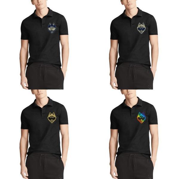 Mens Design Printing UConn Huskies basketball camouflage logo black Cotton Polo shirt Retro Funny Champion Gay pride rainbow Gold pink