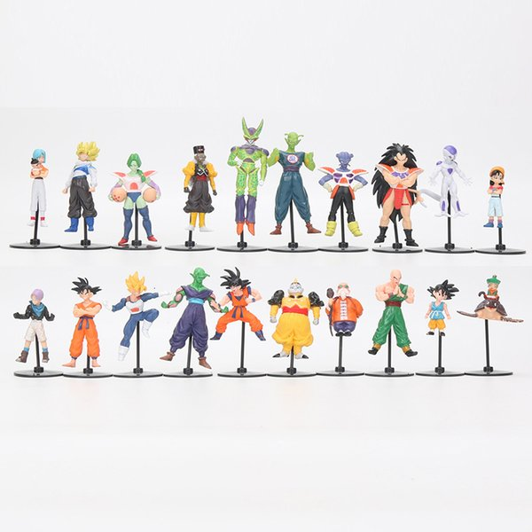 20pcs / set anime Dragon Ball Z oyuncaklar GT Eylem Çılgın Parti 10cm Hücre Freeza oğul Goku PVC Dragonball En Hediye Y191105 Figures Figures