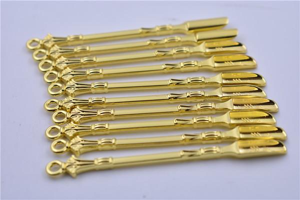 Uso de la cuchara de metal dorado para sniffer snorter HOOVER HOOTEER Snuff snorter Powder Spoon Accesorios para fumar