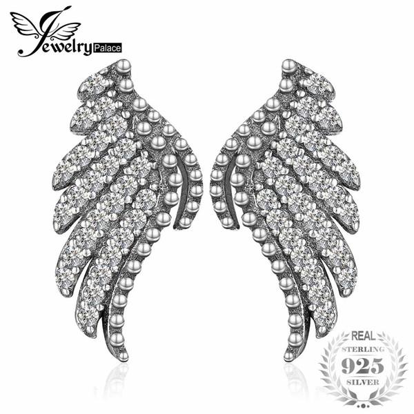Jewelrypalace 925 pendientes de plata esterlina pendientes alas del ángel del brillo nupcial de la vendimia joyería fina regalos para las mujeres nuevas