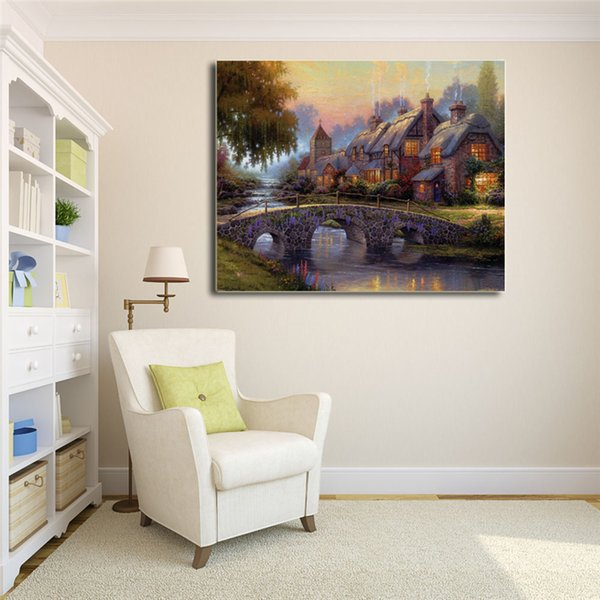 Cobblestone Bridge By Thomas Kinkade Wall Art Canvas Poster And Print Canvas Painting Decorative Picture For Office Bedroom Home Decoracion