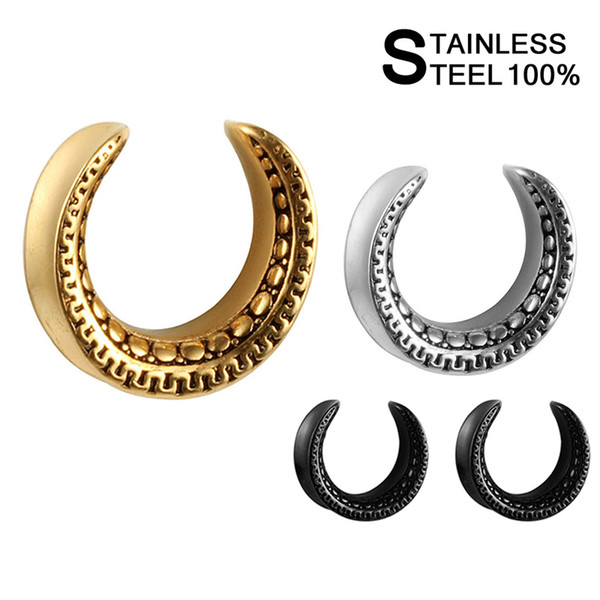 PAIR of Solid Stainless Saddle EAR Gauges PLUGS Rings TUNNEL Piercing Jewelry