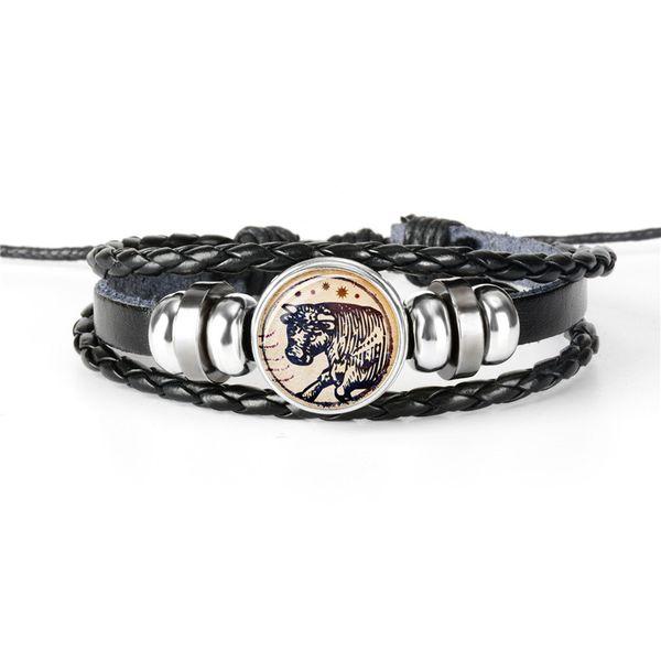 Women Men Boho 12 Constellations Zodiac Taurus Time Gem Glass Cabochon Charm Bracelets Genuine Leather Rope Beaded Wrap Jewelry Dropshipping