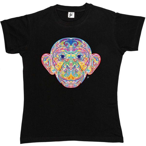 Hint Tarzı Dekore Gülümseyen Maymun Bayan Boyfriend Fit T-Shirt hoodie hip hop t-shirt ceket hırvatistan deri tshirt