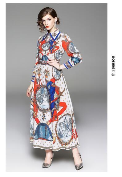 Erken sonbahar yeni kadın Avrupa ve Amerikan retro Barok baskı İnce yüksek bel elbise