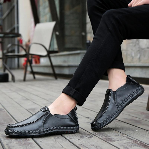 genuine leather male shoes suede loafer official shoes gentle mens travel walk shoe casual comfort breath shoes for Men high quality