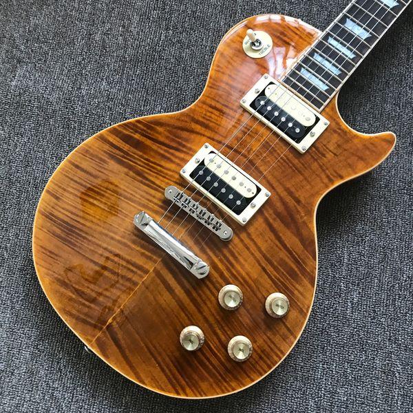 Nouveau manuel de personnalisation guitare électrique, Flame Maple Top, reliure crème frettes, un morceau de corps du cou, pont Tune-o-Matic livraison gratuite