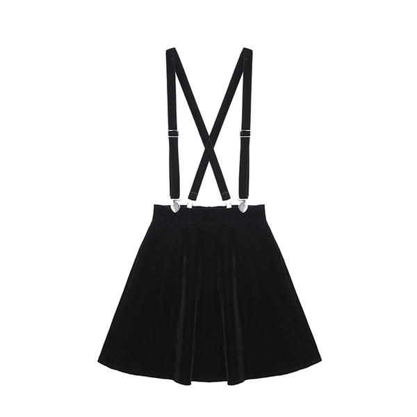 Women's Harajuku Velvet Punk Love Clip Strap Skirt For Female Ladies Mini Skirts Black Q190508